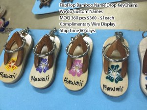 Flip Flop Bamboo Namedrop Keychains Wholesale