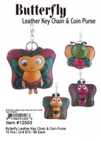 Butterfly Leather Key Chain And Coin Purse Wholesale