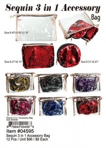 Sequin 3 In 1 Accessory Bags Wholesale