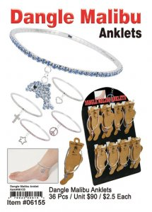 Wholesale Dangle Malibu Anklet w/Display