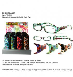 Tie Dye Readers in Display Wholesale