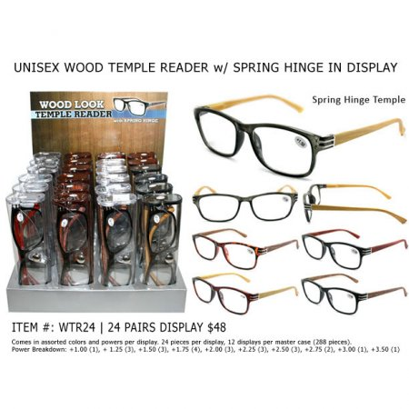 Unisex Wood Temple Readers with Spring Hing in Display