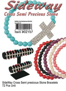 Wholesale Sideway Cross Bracelets Semiprecious Stones