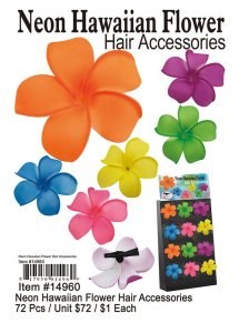 Neon Hawaiian Flower Hair Accessories Wholesale