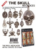 Skull Pewter Necklaces Wholesale