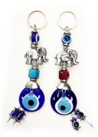Wholesale Evil EyeElephant Key Chain Red and Blue Handmade in Tu