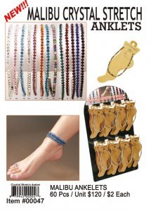 Wholesale Malibu Crystal Stretch Anklets Kit