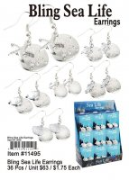 Bling Sea Life Earrings Wholesale