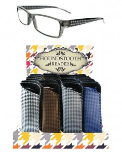 Unisex Houndstooth Temple Reader With Display