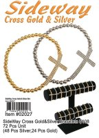 Wholesale Sideway Cross Bracelets Gold and Silver