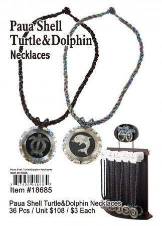 Paua Shell Turtle And Dolphin Necklace Wholesale