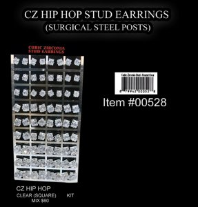 Wholesale Hip Hop Stud Earrings (Clear Square Mix) 60 Pairs