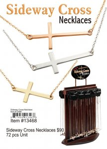 Sideway Cross Necklaces NOW ON CLEARANCE