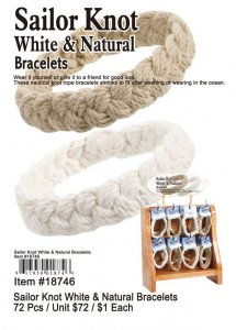Sailor Knot White and Natural Bracelets Wholesale