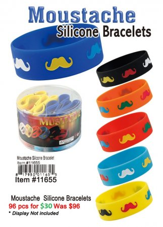 Moustache Silicone Bracelets ON CLEARANCE