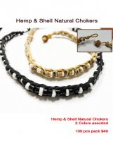 Hemp Shell Natural Chokers 2 Color Assrtd