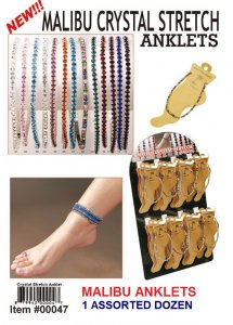 Wholesale Malibu Crystal Stretch Anklets (OneDozen)