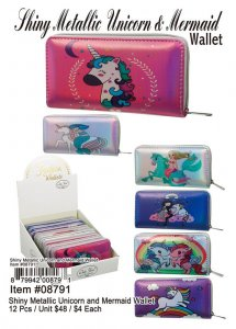 Shiny Metallic Unicorn And Mermaid Wallets Wholesale