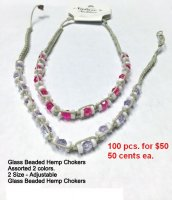 Chokers Glass Beaded Hemp NOW ON CLEARANCE