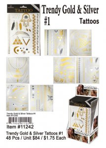 Trendy Gold and Silver Tattoos Wholesale