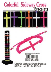 Colorful Sideway Cross Bracelets Wholesale