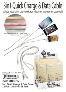 3 In 1 Quick Charge And Data Cable Wholesale