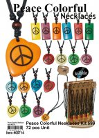 Wholesale Peace Colorful Necklaces kit (72 Pcs with Display)