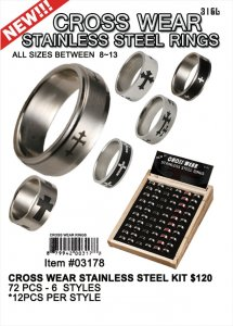 Wholesale Faith Gear Stainless Steel Rings