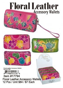 Floral Leather Accessory Wallets Wholesale