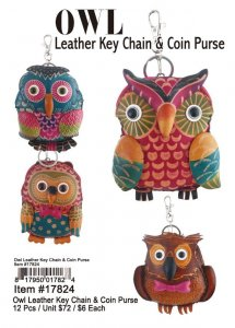 Owl Leather Keychain And Coin Purse Wholesale
