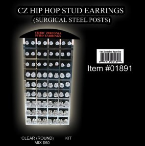 Wholesale Hip Hop Stud Earrings (Clear Round Mix)