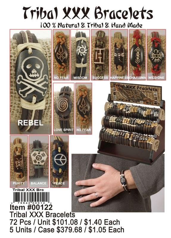 Tribal Xxx Bracelets - 72 Pieces Unit