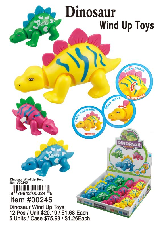 Dinosaur Wind Up Toys - 12 Pieces Unit