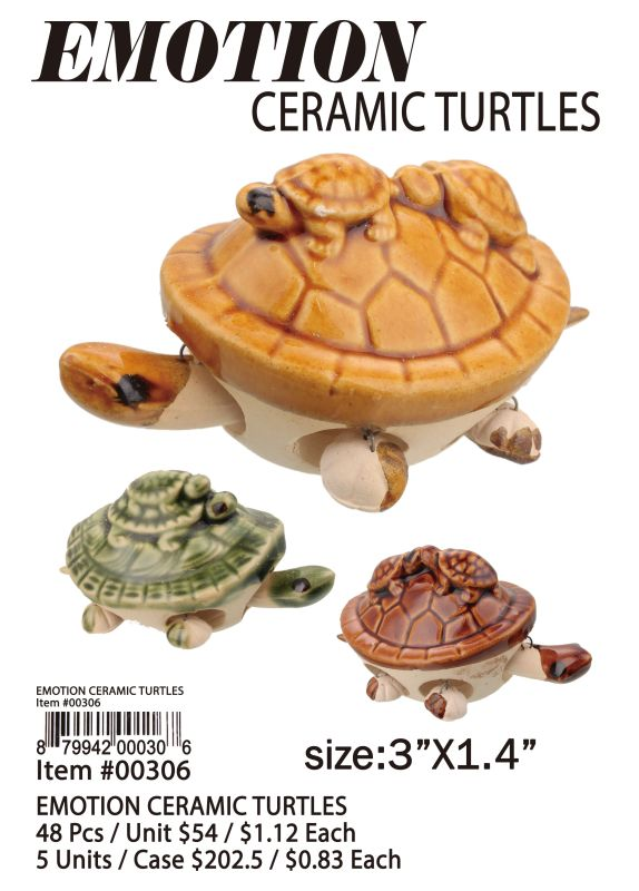 Emotion Ceramic Turtles - 48 Pieces Unit
