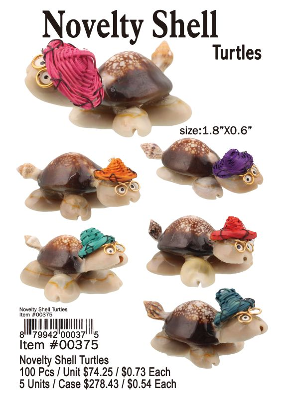 Novelty Shell Turtles - 100 Pieces Unit