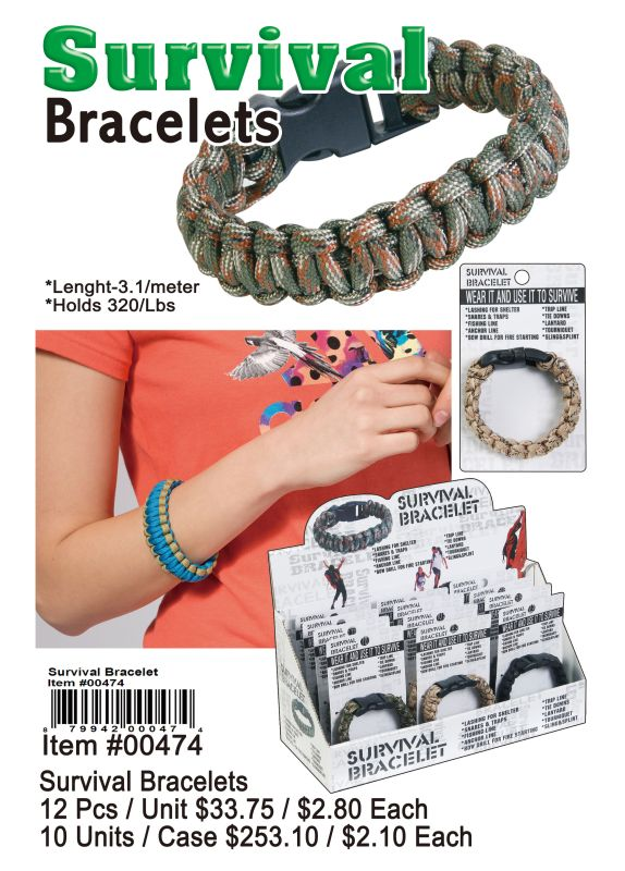 Survival Bracelets - 12 Pieces Unit