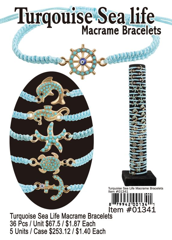 Turquoise Sea Life Macrame Bracelets - 36 Pieces Unit
