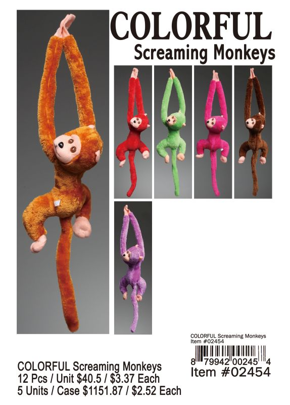 Colorful Screaming Monkeys - 12 Pieces Unit
