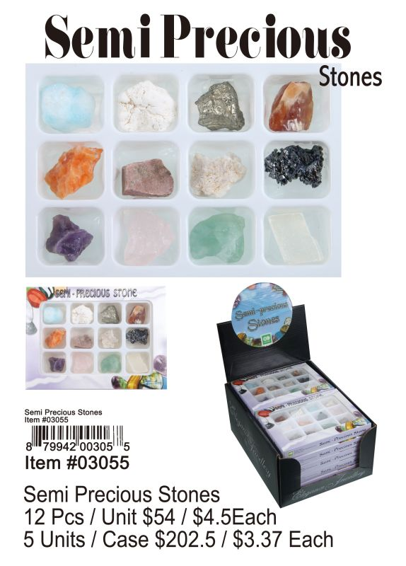 Semi Precious Stones - 12 Pieces Unit