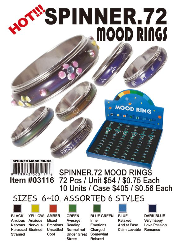 Spinner.72Mood Rings - 72 Pieces Unit