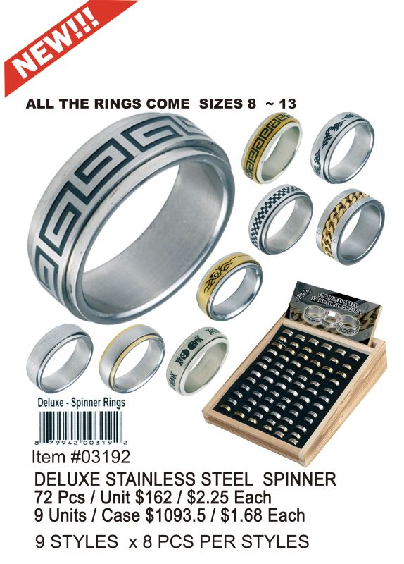Deluxe Stainless Steel Spinner - 72 Pieces Unit