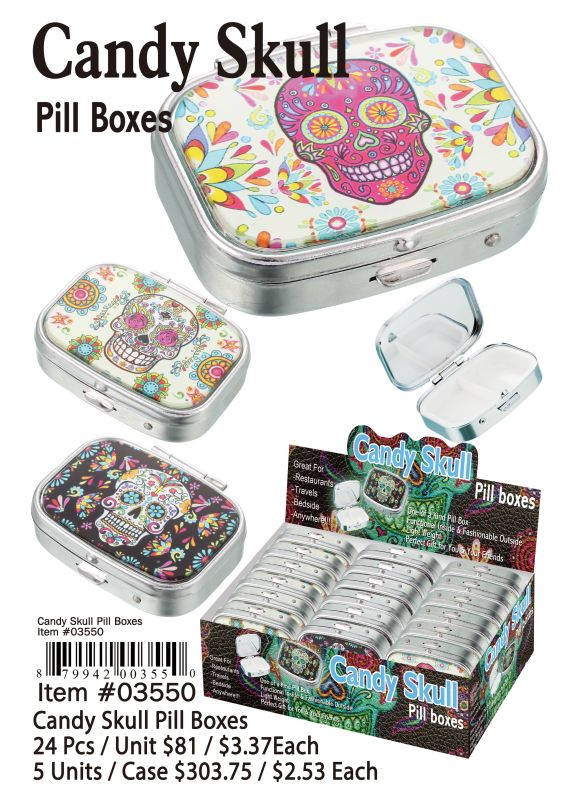 Candy Skull Pill Boxes - 24 Pieces Unit