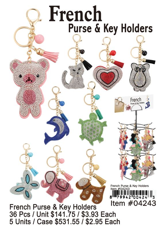 French Purse & Key Chain - 36 Pieces Unit