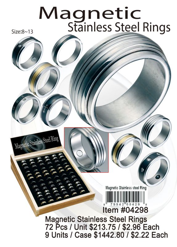 Magnetic Stainless Steel Rings - 72 Pieces Unit
