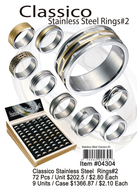 Classico Stainless Steel Rings#2 - 72 Pieces Unit