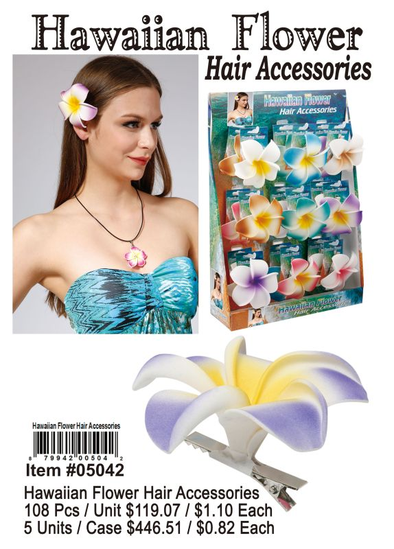 Hawaiian Flower Hair Accessories - 108 Pieces Unit