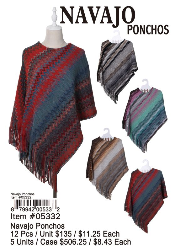 Navajo Ponchos - 12 Pieces Unit