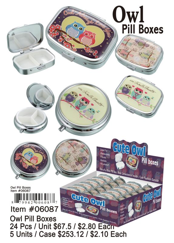 Owl Pill Boxes - 24 Pieces Unit