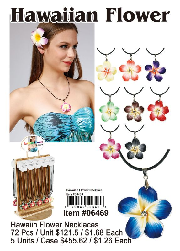 Hawaiian Flower Necklace - 72 Pieces Unit