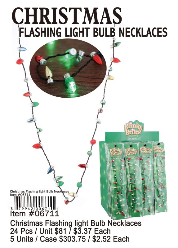 Charistmas Flashing Light Bulb Necklace - 24 Pieces Unit